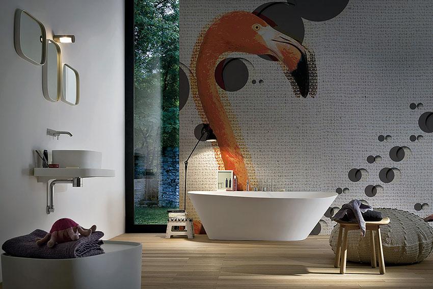 FOTO INKIOSTRO BIANCO BAGNO CARTA  flamingos